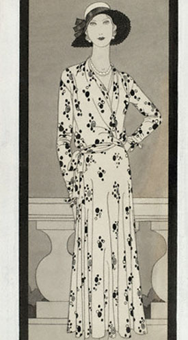 Woman in Print Dress by Vionnet